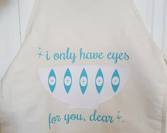 I Only Have Eyes For You Turquoise Eyes Pyrex Themed Apron
