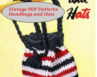Vintage PDF Crochet and Knitted Hats  and Purses Pattern  Star Book No. 97 Instant Download