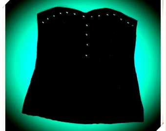 Top nero con borchie made in Italy Styled & made by Nancy Barbieri