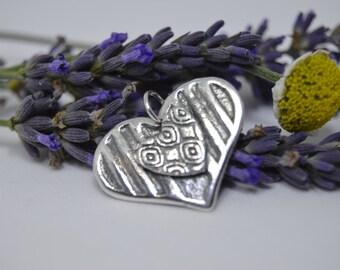 Silver Pendant. SIlver Heart. Silver necklace. Heart Pendant. Love Heart necklace. (PMC) (UK)
