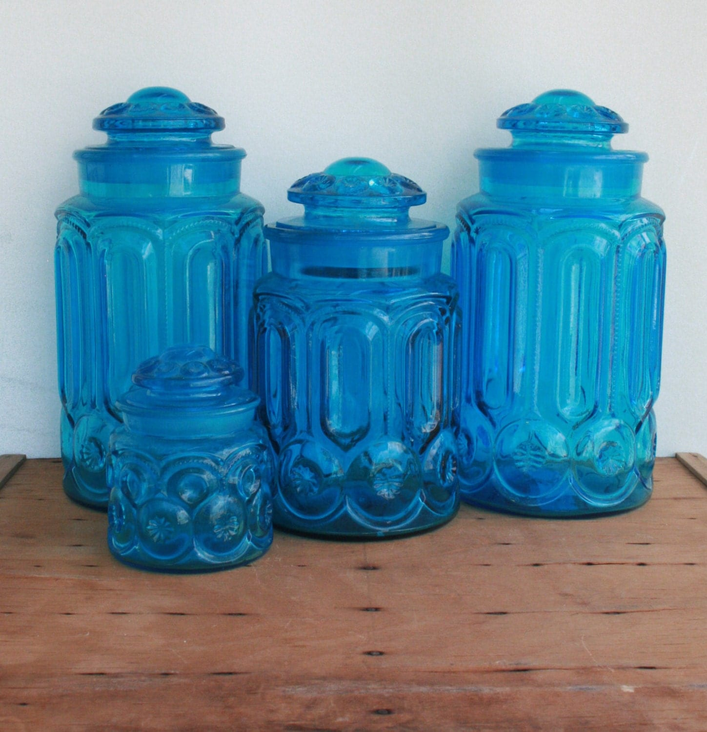 moon and stars vintage canister set teal vintage kitchen teal canisters by sun porch studio set of 4