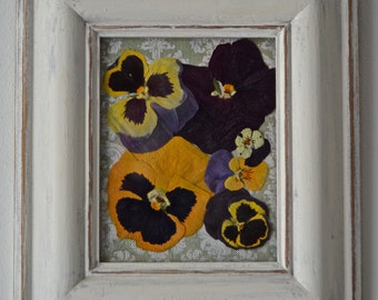 Pressed dried Pansy and Viola flowers in hand painted shabby chic wooden frame