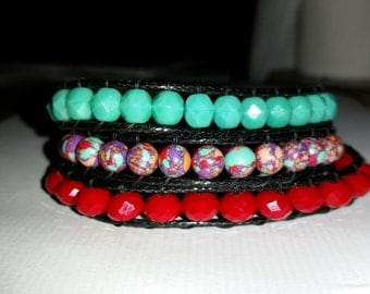 Colorful 3-wrap bracelet