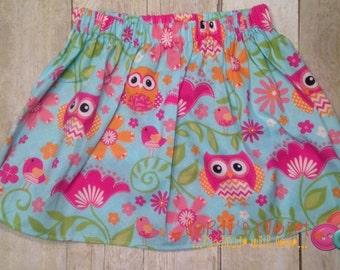 Girls Owl Skirt, Toddler Girls Owl Skirt, Owl Skirt, Girls Summer Skirt, Bird Skirt