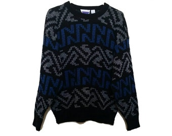 90's Vintage Crew Neck Pull Over Sweater - Size LARGE - Funky Geometric Pattern - Oversize Boyfriend Sweater