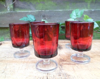5 shot glasses Ruby Red, deep red, luminarc foot transparent glass, vintage, 70s