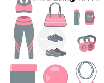 Pink Woman Fitness Tool Clipart,fitness clipart,gym clipart,fitness woman,digital download