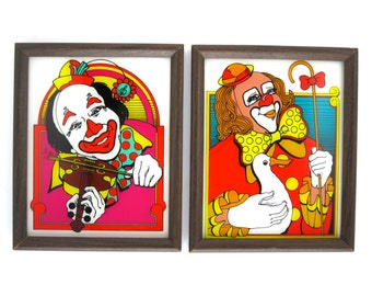 Two Scary Colourful frames of Clown printed on glass - 1980