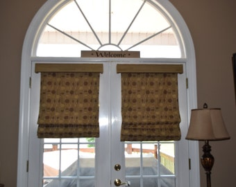 Custom Roman shade, french door shade in gold and brown, Valances, window treatments, curtains, home decor, toppers, shades, blinds, privacy