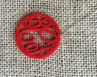 Acrylic Circle Raleigh Monogram Necklace