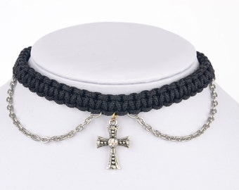 Black Choker & Antique Silver Cross With Drop Chain Accents