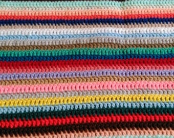 Striped Handmade Crochet Blanket. Granny Throw multicoloured pink blue green brown black white yellow red