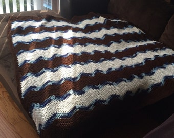 Crochet handmade afghan throw blanket 5ft x 5ft Blue, Brown & White