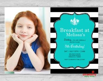 Breakfast at Tiffany's Birthday Invitation, Tiffany's Party Photo Invite, Teal Black And White Stripes, Custom Printable Invitation, A28