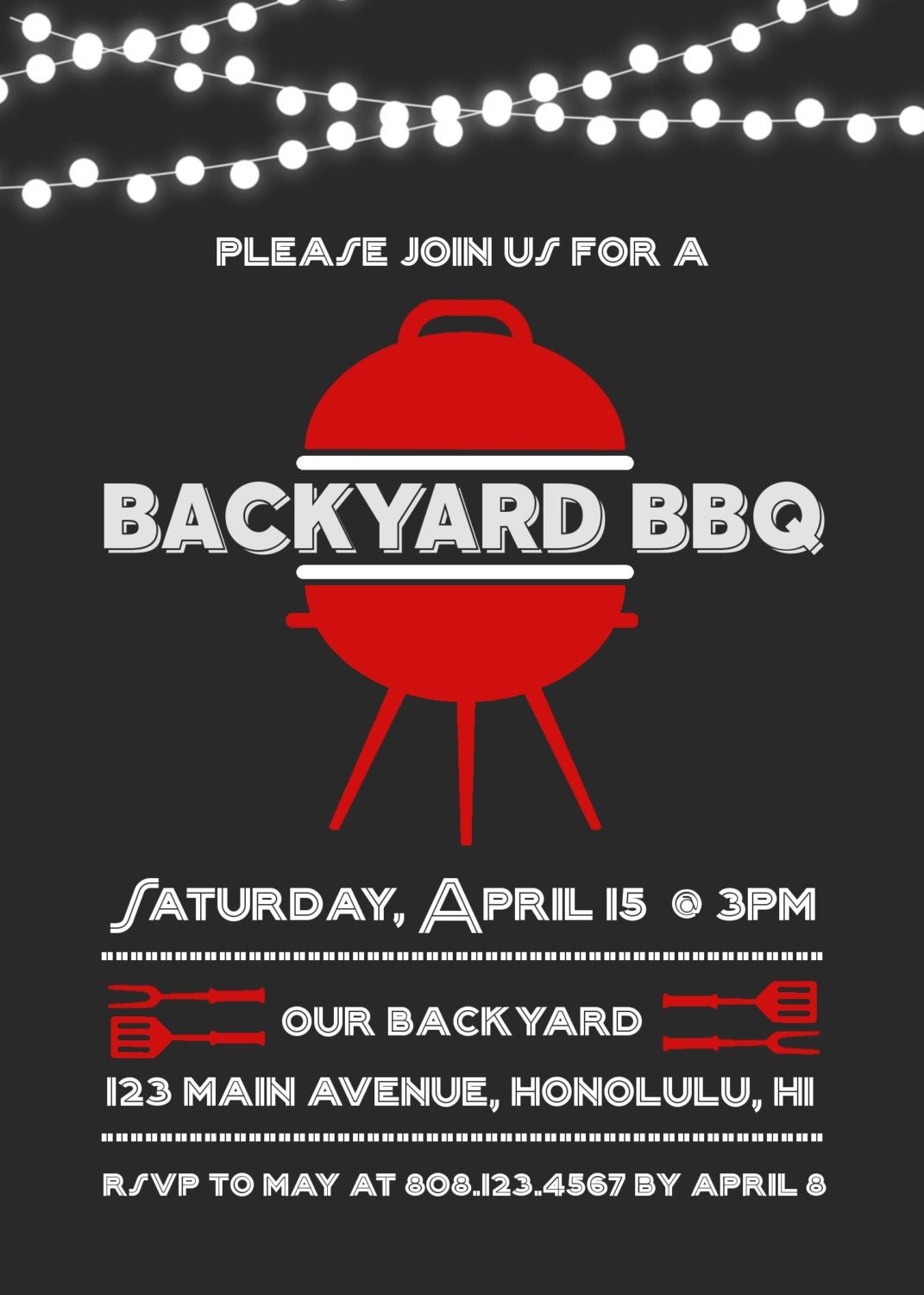 Backyard BBQ Invitation Barbeque Birthday Party Chalkboard Invite
