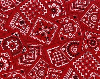 By The HALF YARD - Best Bandanas Squares - Red, Designed by Kensington Studio of VIP for Cranston Village, Black and White Design on Red
