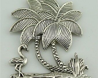 2 Large Palm Tree Charm Antique Silver Tone Palm Tree W/ Flamingo Charms Charm Bracelet Bangle Bracelet Charm Pendants #705