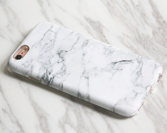 White Marble Print Gift for Woman Man iPhone 7|6s case Plus|SE|5 & Samsung Galaxy S8|S7|S6 protective tough snap cases KB-0876