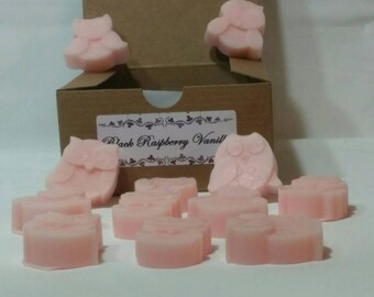 Owl soy wax tarts, 12 pink wax melts, Black Raspberry Vanilla