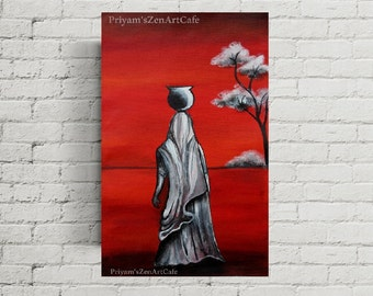 indian painting, red canvas art, acrylic artwork, modern contemporary woman, grey wall art, small original gift, red and grey, feminine art