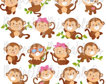 Digital Download - Playful Monkeys - 300 DPI - Personal & Small Commercial Use Okay