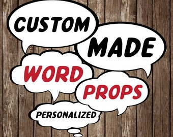 20 Word Props Custom Made Printable for Photo Booth and Birthday Party by BrownCactus JPEG Download