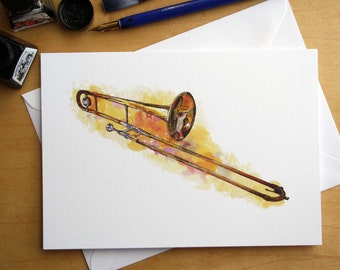 King 606 Straight Tenor Trombone pen and ink greetings card, illustrated by Steve Barker. Designed and printed in the UK
