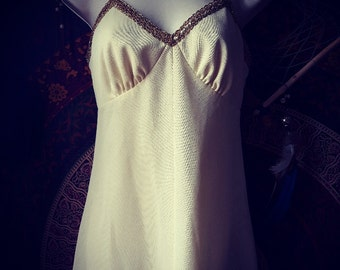 Cream strappy vintage maxi dress