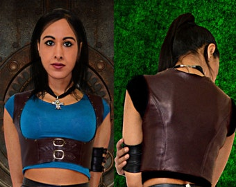 Steampunk Waistcoat Jacket Underbust Dark Brown Real Nappa Leather