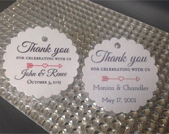 wedding favor tags, thank you tags, personalized