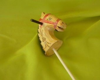 Vintage Wooden Hand Painted Horse Head on Stick