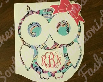 Owl Monogram Car Decal in Lilly inspired patterned vinyl 6 x 6