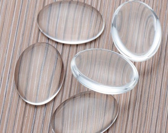 Oval Clear Glass Cabochons Wholesale, Oval Glass cabs, Crystal Clear Colorless Glass, transparent glass covers