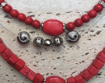 Three Strand Necklace with Coral and Beads