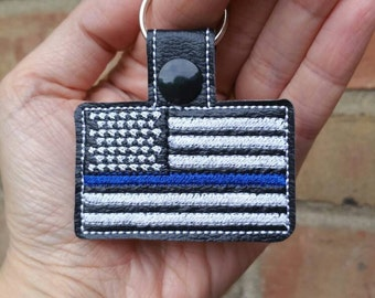Thin Blue Line Flag - Police Keychain - Police Flag - Police Wife - Back The Blue - Police Gift - Law Enforcement
