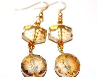 Amber Crystal Drop Earrings