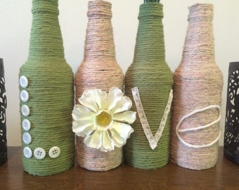 Upcycled Bottle Home Decor, Love home decorations, Twine wrapped bottles