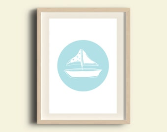 Boys room decor baby boy printable baby boy decor baby boy wall art printable nursery boat light blue, instant download baby gift nautical
