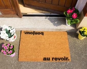 Bonjour, Au Revoir quirky doormat - 60x40cm - French