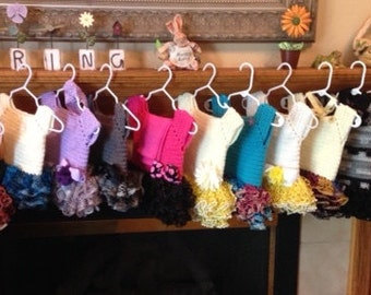 hand crocheted Tu Tu baby dresses