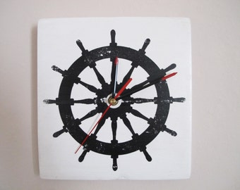 "Rudder Nautical wall clock ""made by hand"""