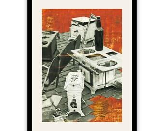MOOD • Orange Kitchen • Art print from original collage