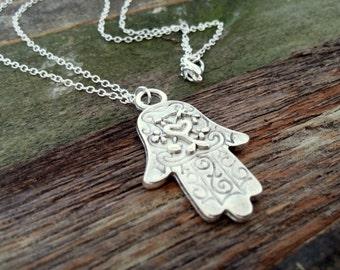 Hamsa Hand pendant necklace, Hand of Fatima necklace, Boho necklace, Tibetan silver, FREE SHIPPING