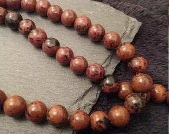 8mm Round Polished Mahogany Obsidian Beads Full 16.5 inch Strand