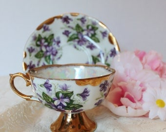 Vintage Purple Violets Lusterware China Teacup with Saucer