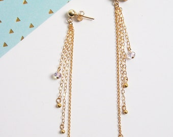 Earrings chains of gold plated cross 14carats