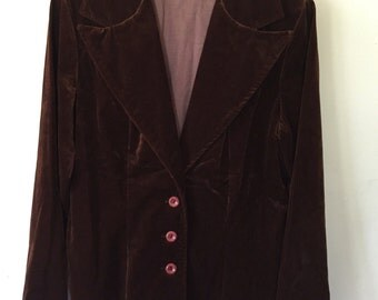 1960s Chocolate Brown Faux Suede Velvety Jacket
