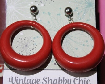 Handmade repro red loop earrings