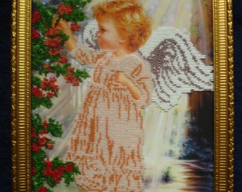 Icon embroidered beaded handmade Angel in the garden