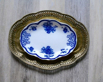 Antique Astoria New Wharf Pottery Oval Serving Platter, Flow Blue Royal Semi Porcelain England